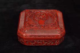 收藏剔红漆器雕刻凤纹四方首饰盒长9.5厘米