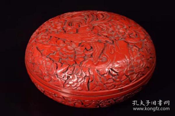 漆器雕刻凤凰涅槃盒子宽18厘米