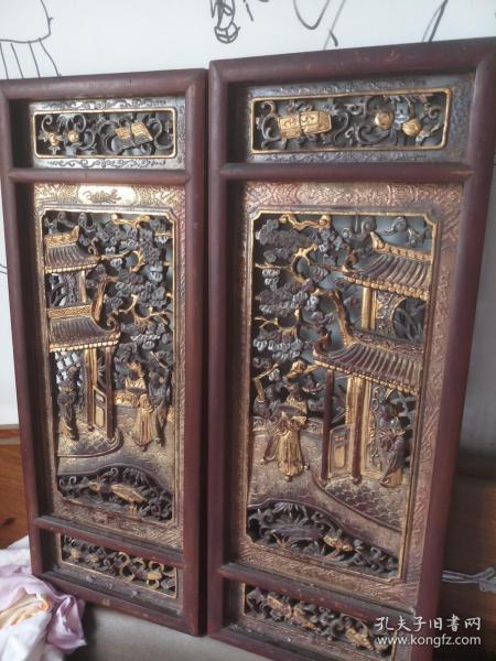 清代精品金漆木雕人物,镂空人物纹故事挂屏一对。应为和合二仙题材
