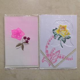 老贺卡 布艺花朵系列 2张一组