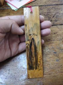 手绘竹片书签——蓬莱三岛