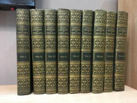 Cassells History of England《英国史》9册全,罕见特别定制版 精美水彩画带护纸 三边刷金 26*20cm