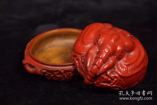 漆器剔红吉祥如意盒子长7.5厘米