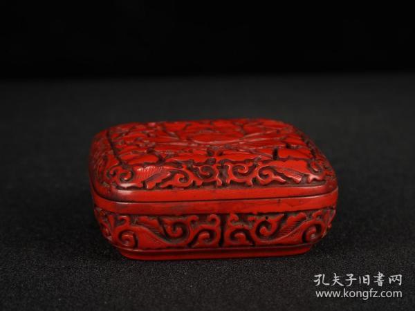 漆器剔红荣华富贵纹首饰盒