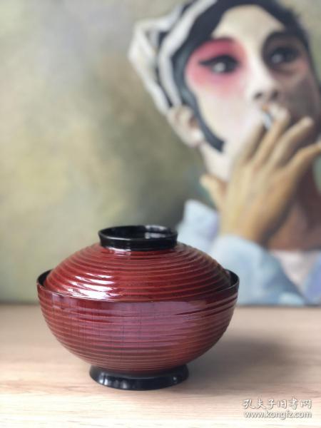 天然木胎|全新日本手作朱漆特大盖碗
