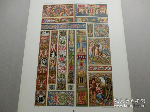 【百元包邮】《文艺复兴时期:天使、神话、人物、动物、花卉、纹饰图案等》文艺复兴时期-16世纪和17世纪,手抄本装饰(RENAISSANCE)1885年 石版画 石印版画 大幅 纸张尺寸41.3×28.8厘米  (货号S000271)