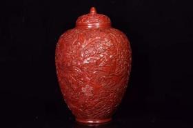 漆器剔红花开富贵将军罐高38厘米