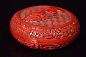 漆器剔红马拉车盒子宽8厘米