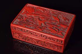 漆器剔红松鹤延年盒子长12.5厘米
