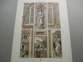 【百元包邮】《文艺复兴时期:人物、天使、纹饰图案等》文艺复兴时期-15世纪和16世纪,细密画及油画,装饰背景中的人物画像(RENAISSANCE)1885年 石版画 石印版画 大幅 纸张尺寸41.3×28.8厘米  (货号S000270)