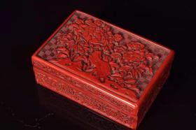 漆器剔红花开富贵方形盒子长12厘米