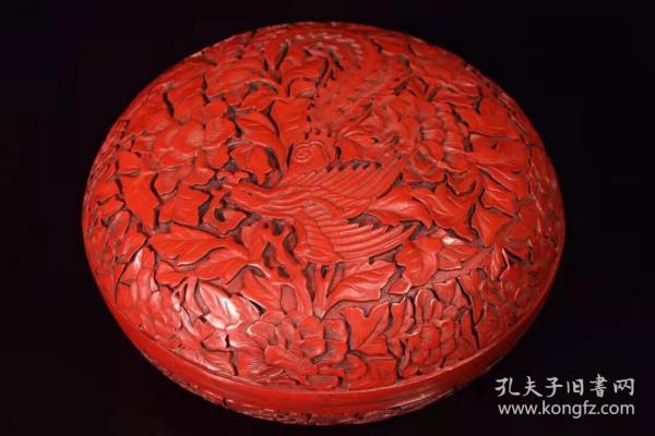 收藏漆器剔红凤凰涅槃盒子宽18厘米