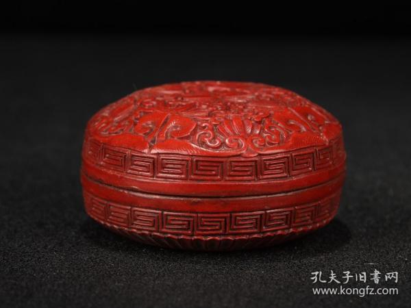 漆器剔红胭脂盒