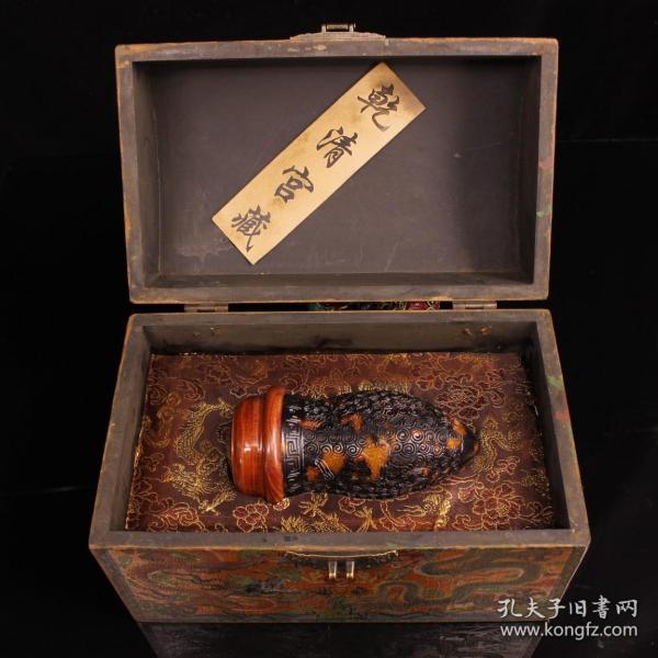珍藏纯手工镂空雕刻玳瑁蛐蛐罐一个  配老漆器盒一个