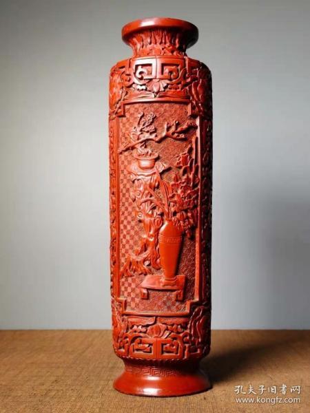 收藏剔红漆器花瓶摆件