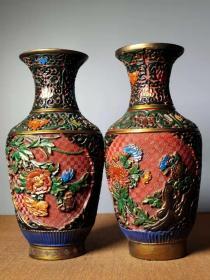 收藏漆器手工彩绘花开富贵花瓶一对
