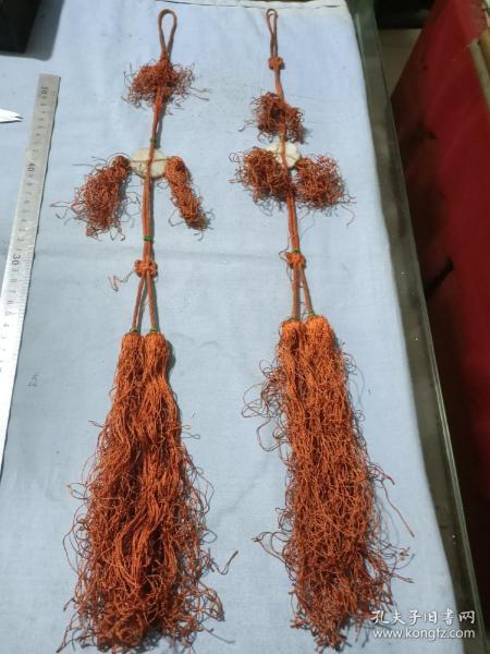 清代刺绣穗头一对。高62厘米