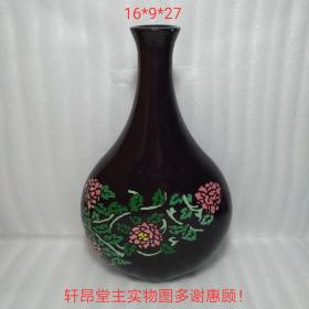 上个世纪 建国后:古朴典雅 引人神往 红花绿叶纹 木胎漆器 琵琶瓶