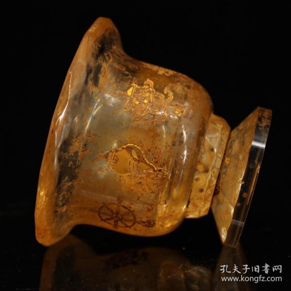 古寺地宫出土老水晶雕刻吉祥八宝描金供杯   护法杯