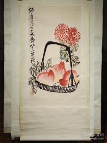 齐白石木版水印(立轴装裱)  128 x 45 cm