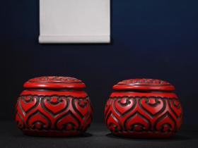 漆器剔红围棋罐一对