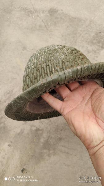 生活民俗类;一个老的草编藤编安全帽