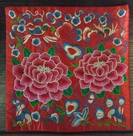 旧手工刺绣,26x26cm。