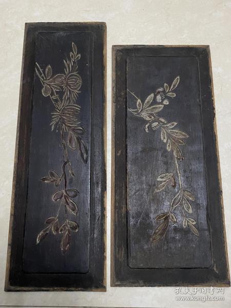 特价,民囯木雕,黑漆阴刻花草二片