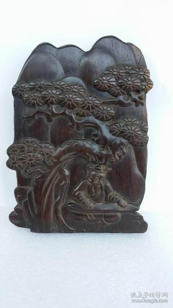 红木浮雕人物摆件 包浆厚重品相完整