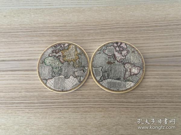 地图陶瓷杯垫(两个一对,直径10.3CM)