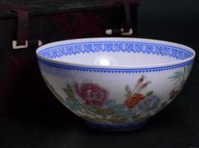 出口创汇期精品:景德镇制手绘薄胎牡丹花鸟碗