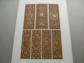 【百元包邮】《文艺复兴时期:神兽、瓷器、纹饰图案等》文艺复兴时期-弗朗索瓦一世廊厅护墙板装饰,枫丹白露宫(RENAISSANCE)1885年 石版画 石印版画 大幅 纸张尺寸41.3×28.8厘米  (货号S000279)