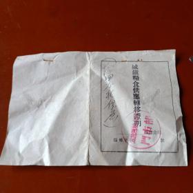 1956年沽源县城镇粮食供应转移证明