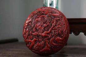 剔红漆器双面雕刻龙墨盒
