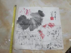 北京画家刘洋画一副(小品)――鱼戏莲叶间