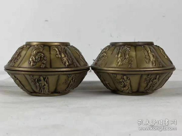 乡下回收八仙铜碗四个,精致打造,包浆厚重,磨损自然,老化明显,钙化深邃,成色如图