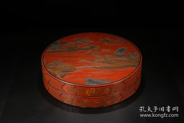 大漆剔红雕山水花卉盖盒