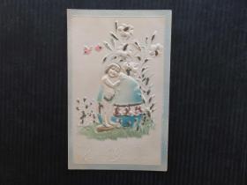 古典风情-儿童浮雕--欧美早期明信片-手账复古集邮收藏邮政明信片彩色外国明信片