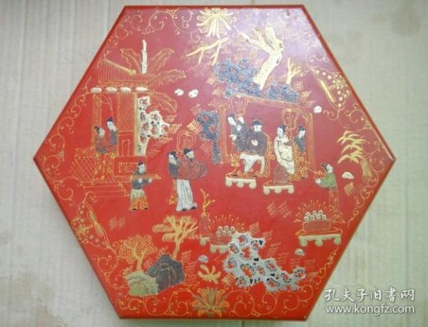 六角红漆器盒