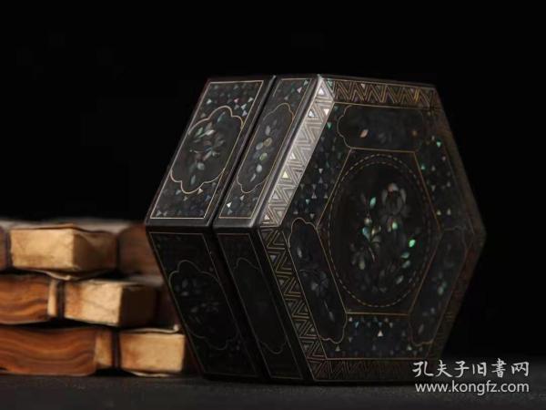 螺钿漆器六角盒