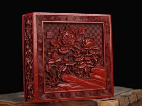 剔红漆器花开富贵墨盒长12厘米