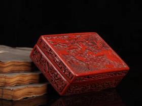 剔红漆器松鹤延年首饰盒长12.5厘米