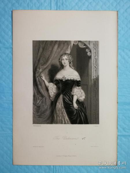 1854年【精细】钢版画,西方小说中的女性人物《晚礼服女人the unknown》尺寸16.5*24.5厘米,艺术家w.drummond绘画,  j.brown雕刻--是沃尔特·斯科特爵士创作的韦弗利小说中的人物