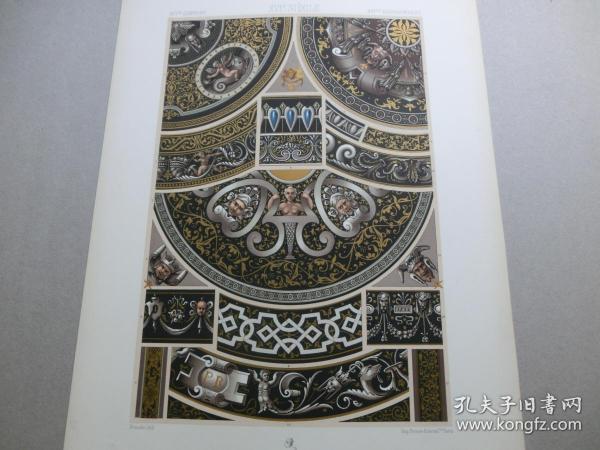 【百元包邮】《16世纪:天使、神话、人物、纹饰图案等》(XVI CENTURY)1885年 石版画 石印版画 大幅 纸张尺寸41.3×28.8厘米  (编号S000282)