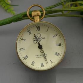 古玩杂项收藏工艺礼品纯铜水晶表机械表水晶 复古怀表球形表中号
