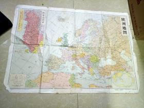 4/5  文革地图~~~~~~~欧洲地图1968年版 带毛语录【2开 53*77厘米 带毛主席语录】