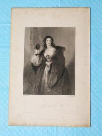 1854年【精细】钢版画,西方小说中的女性人物《绿披风greenmantle》尺寸16.5*24.5厘米,艺术家f.p.stephanoff绘画,  j.penstone雕刻--是沃尔特·斯科特爵士创作的韦弗利小说中的人物