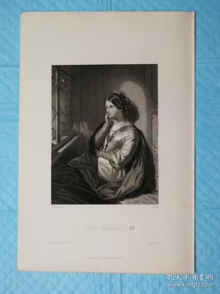 1854年【精细】钢版画,西方小说中的女性人物《罗斯· 弗拉莫克rose flammock》尺寸16.5*24.5厘米,艺术家w.drummond绘画,  j.cook雕刻--是沃尔特·斯科特爵士创作的韦弗利小说中的人物