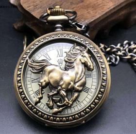 仿古欧米伽机械怀表欧式复古双壳男士水晶挂表古玩收藏怀表机械表