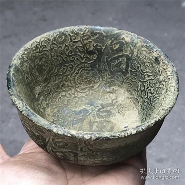 仿古玉器古玩杂项收藏天然玉石仿古做旧碗摆件老物件老古董